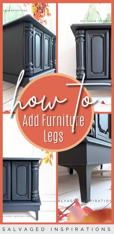 How To Add Furniture Legs | DIY Side Table Makeover | Salvaged Inspirations #siblog #salvagedinspirations #paintedfurniture #furniturepainting #DIYfurniture #furniturepaintingtutorials #howto #furnitureartist #furnitureflip #salvagedfurniture #furnituremakeover #beforeandafterfurnuture #paintedvintagefurniture #roadsiderescues #chalkpaint #chalkpaintedfurniture #diyprojects #diyfurnituremakeover #furniturerestoration #furnitureideas Painted Furniture For Sale, Salvaged Furniture, Furniture Repair, Furniture Restoration, Vintage Furniture, Diy Furniture Legs Ideas, Diy Furniture Projects, Furniture Makeover, Side Table Makeover