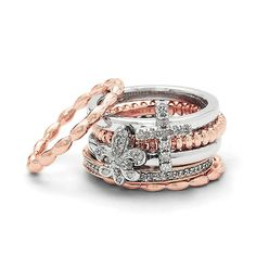 Sterling Silver Stackable Two-Tone Faith Ring Set - 11 Main