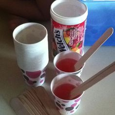 And freeze for cheap easy summer snack. Cups and sticks (in craft section). Use 100% juice so you know exactly what's in it. Simple, easy, cheap! The kids love to make them!
