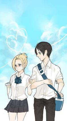 School Days | Eren Jaeger / Jäger / Yeager x Annie Leonhardt / Leonhart | EreAnnie / ErenAnnie / EreAnni / Erennie / Erenni | Titan Shifters | Attack on Titan / Shingeki no Kyojin AoT / SnK | Anime manga couple fanart | OTP