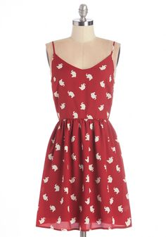 Hearten Soul Dress. Lift your spirits with the cheery charm of this elephant-printed dress! #red #modcloth