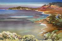 Judy lives and works in Cambria, CA. I love the luminosity in her watercolors.