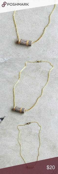 "Dainty Southwestern Necklace Lovely, dainty necklace. Southwestern patterned terra cotta bead on delicate, gold plated chain.  Necklace measures 16"" long.   **Handmade in California. Madewell used for exposure. Madewell Jewelry Necklaces"