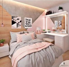 Pink white and grey girl s bedroom pastel bedroom decor inspiration small Bedroom Pastel Bedroom, Pink Bedroom Decor, Room Ideas Bedroom, Small Room Bedroom, Bedroom Vintage, Trendy Bedroom, Bedroom Themes, Diy Bedroom, Bedroom Lamps