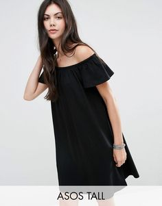 Buy it now. ASOS TALL Off Shoulder Mini Dress - Black. Tall dress by ASOS TALL, Pure cotton jersey, Stretch bardot neckline, Regular fit - true to size, Machine wash, 100% Cotton, Our model wears a UK 8/EU 36/US 4 and is 180cm/5'11 tall. ABOUT ASOS TALL Find fresh wardrobe wins with our ASOS TALL edit. Raise your sunrise-till-sunset game with occasion dresses, cool separates and jeans that go up to a 38� leg length and are perfectly proportioned to fit girls who are 5� 9�/1.75m and tall...