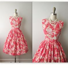 50s Floral Dress // Vintage 1950s Pink Floral by TheVintageStudio, $68.00