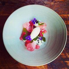 Rhubarb, lavender cucumber, meyer lemon, black olive, violet, and yogurt by @reikostewart