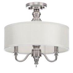 Hampton Bay Gala 3-Light Polished Nickel Semi-Flush Mount Light 14698 at The Home Depot - Mobile