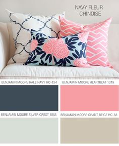 Caitlin Wilson Textiles Navy Fleur Chinoise - Here are the perfect Benjamin Moore paint colors to coordinate with Caitlin's fabric Colour Schemes, Color Combos, Paint Schemes, Colour Palettes, Stoff Design, Deco Design, Pink Design, Little Girl Rooms, Color Pallets