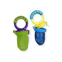 Fresh Food Feeders -If you have a baby-choking fear, like me, these feeders come in so handy!  Just pop a piece of fruit, meat, or veggie in the mesh bag and let baby gnaw away!  Only itsy bitsy pieces of food will escape the small holes, so you don't have to worry!  These are also great for bringing to relatives/babysitters homes…you know how other people don't quite know the capabilities of your baby, so they stuff a hunk of cantaloupe in their mouths?