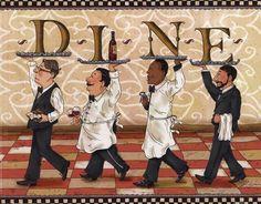 Waiters Dine by Shari Warren art print