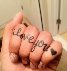 cool twist on knuckle tattoos hmm Baby Tattoos, Time Tattoos, Body Art Tattoos, Cool Tattoos, Tatoos, Love Yourself Tattoo, Skin Paint, Knuckle Tattoos, Finger Tats