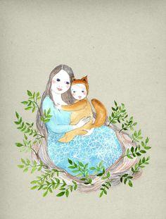 My wild one Print Original illustration mom and by IrenaSophia