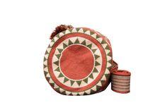 Desert Red Boho Geometric Purse with Tassels // Traditional Wayuu Mochila Bucket Bag // Azulina Wayuu $198