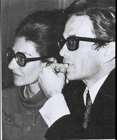 Maria Callas and Pier Paolo Pasolini, 1969 Maria Callas, Pier Paolo Pasolini, Culture, Bologna, Couple Photos, Celebrities, Singers, Eyewear, Motorcycles