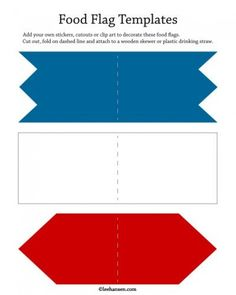 Print and cut out food flags Flag Template, Templates, Unique Party Favors, Food Flags, Easy Paper Crafts, Activity Sheets, Cut And Paste, Print And Cut, Scrapbooking