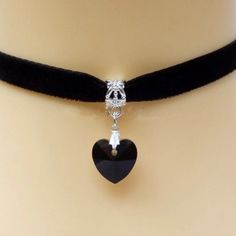 Gothic Velvet Heart Crystal Choker Lover Gothic Velvet Heart Crystal Choker Handmade . I have blue,pink,purple,black and clear white. Please let me know which color you want don't purchase this listing  Jewelry Necklaces