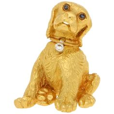 For Sale on - Total diamond weight approximately G colour and clarity. A beautifully detailed signed Tiffany & Co. Dog brooch set in 18 carat yellow gold. Sapphire Eyes, Dog Jewelry, Antique Brooches, Tiffany And Co, 18k Gold, Dogs And Puppies, Dog Lovers, Lion Sculpture, Brilliant Diamond