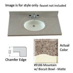 Us Marble Designer Mountain Cultured Integral Single Sink Bathroom Vanity Top Common 61 In X 22 Actual
