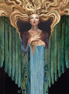 "Signed, framed print ... Art Nouveau Goddess - Angel - Art Deco Painting by Ragen ""Believer"""