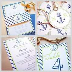 Nautical Anchor Wedding Invitations, Anchor, Nautical by Whimsy B. Paperie www.whimsyb.com