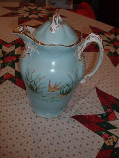 German Teapot/Coffee Pot Baby Blue With Water Scene eBay Image Hosting at www.auctiva.com