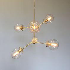 Celeste Globe Chandelier Lighting  Midcentury Modern satin
