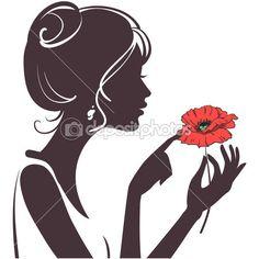 женский силуэт красоты с красным маком — Векторная картинка #5537890