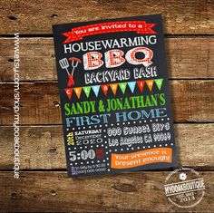 BBQ party housewarming invitation house warming barbecue open house invite new home digital printable invitation 13604 by myooakboutique on Etsy