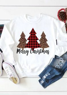 Merry Christmas Tree Leopard Plaid Printed Sweatshirt - White Shop the latest women's clothes and keep your style game strong with the freshest threads landing daily. Christmas Shirts, Christmas Sweaters, Merry Christmas, Christmas Trees, Christmas Print, Christmas Hoodie, Christmas Clothing, Black Christmas, Christmas Jumpers