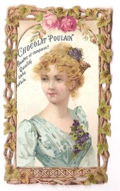 Jeune femme Portrait  Fleur Rose -  - Chromo Chocolat Poulain - Trade Card