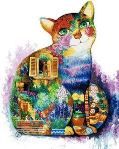 Abstract cat cross stitch kit