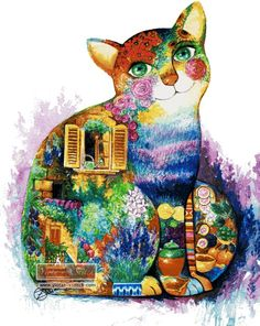 Abstract cat cross stitch kit