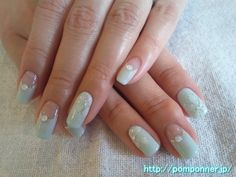 Cool nail of sherbet green  シャーベットグリーンの涼しげなネイル
