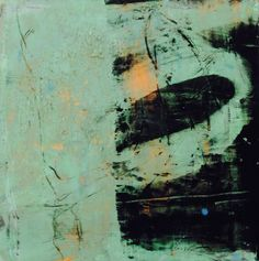 """original oil and wax abstract painting in pale greens and black 6""""x6"""""""