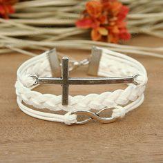 $7.99 Infinity bracelet-Infinity cross bracelet-Cross bracelet- Gift for girl friend or boy friend