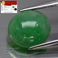 3.00ct 9.6x8.4mm Oval Cabochon Natural Untreated Green Jade *Free GLC Certified