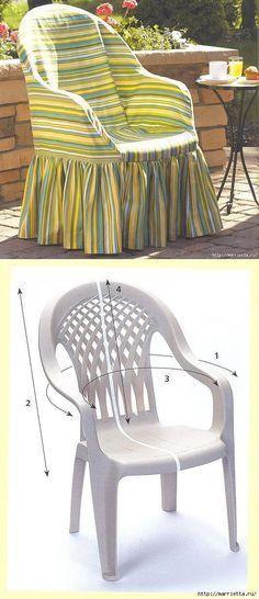 Cosemos la funda para la silla plástica. ¡La idea excelente!.