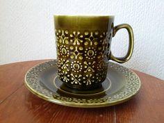 Celtic Connemara Cup and Saucer // Kilrush // Dark Olive Green Connemara, Vintage Pottery, Earthenware, Cup And Saucer, Olive Green, Celtic, Ceramics, Mugs, Dark