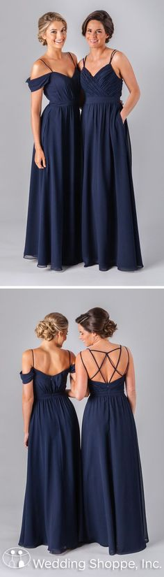 Long mismatched navy bridesmaid dresses with stunning details.: