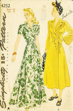 I adore the old school glamour (not to mention comfort) of classic 40s/50s housecoats like the ones in this great Simplicity pattern.