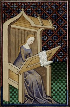 15th century (ca. 1440), Northern France - Rouen  British Library  Royal 16 G V: Le livre de femmes nobles et renomées (French edition of De mulieribus claris) by Giovanni Boccaccio; illumination by the Talbot Master  fol. 23 - Erythrean Sibyl  http://www.bl.uk/catalogues/illuminatedmanuscripts/record.asp?MSID=8359=16=160705