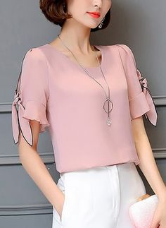 Chiffon Solid Round Neck Short Sleeve T-shirts Indian Fashion Trends, Latest African Fashion Dresses, Blouse Styles, Blouse Designs, Couture Sewing Techniques, Womens Trendy Tops, Stylish Work Outfits, Sleeves Designs For Dresses, Fashion Sewing