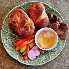 Day 26, Pretzel Logic: Pretzels, Crudites, Sausages w/ Mustard/Horseradish Sauce   #veganpopup #vegan #food #dinner #pretzels #steelydan