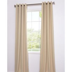 @Overstock.com - The fabric on these window panels are made of a special polyester yarn that provides effective light blackout and superior insulation. Each curtain panel also highlights an eight-grommet construction.http://www.overstock.com/Home-Garden/Biscotti-Tan-Thermal-Blackout-108-inch-Curtain-Panel-Pair/6337404/product.html?CID=214117 $67.49