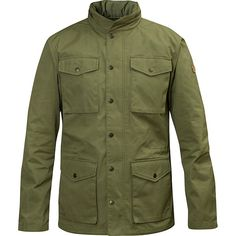 Fjallraven Raven Jacket ($240) ❤ liked on Polyvore featuring men's fashion, men's clothing, men's outerwear, men's jackets, green, mens hooded jackets, mens zip up jackets and mens green jacket