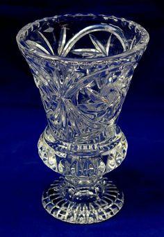 "Tiara Lead Crystal 8"" Flower Bouquet Vase W Germany #1291"