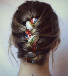 hair braid with fabric