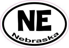 3in x 2in Oval NE Nebraska Sticker Vinyl Car Window State Bumper Stickers