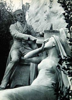 Monument to Chopin, Parc Monceau, Paris, 1956. Photo by Robert Doisneau.